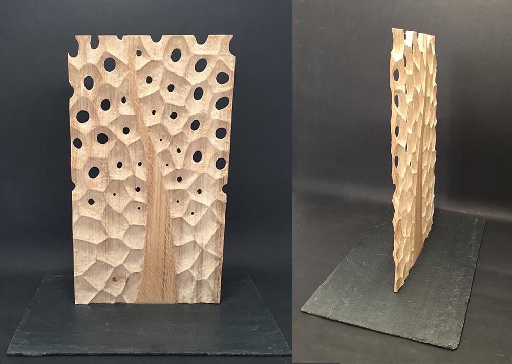 """agnes k sculpture. """"arbre"""", sculpture en chêne sculpté et texturée. dentelle de bois"""