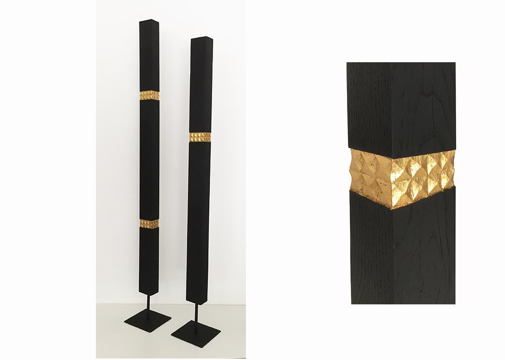 """agnes k sculpture. sculpture """"haute couture"""", en chêne laqué noir lat et dorure à la feuille"""
