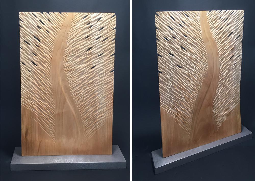 agnes k sculpture, feuille, merisier